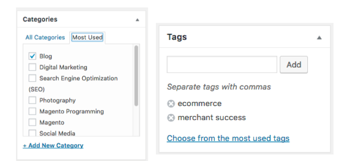 Examples of setting categories and tags on a wordpress blog