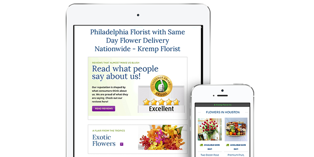 Kremp Florist Mobile Optimization Example