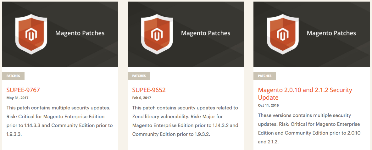 Magento Security Patch Updates