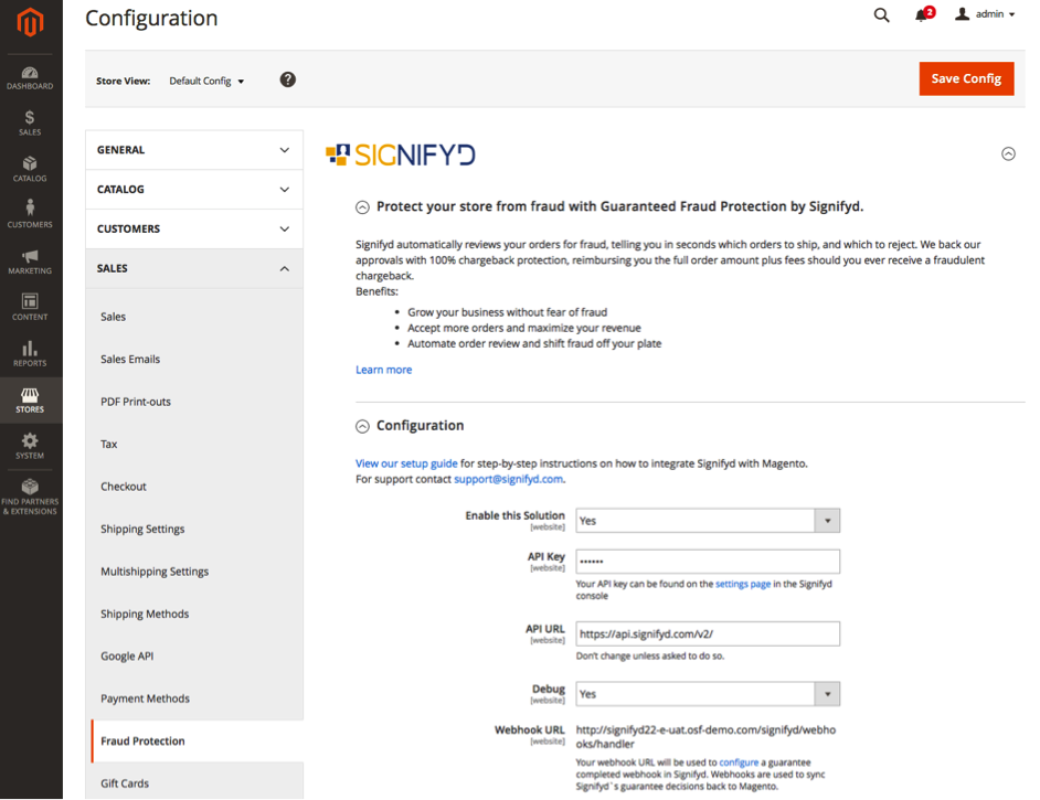 The scree in Magento 2 backend where you can configure the security module Signifyd