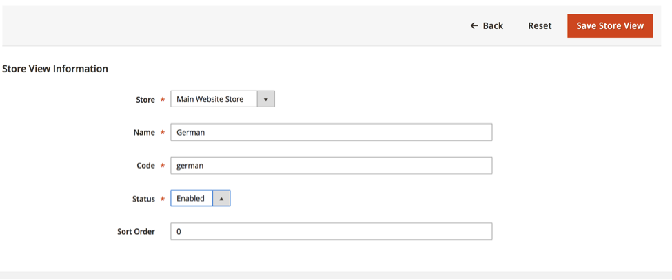 Fill in all of the required info to set up your new store view