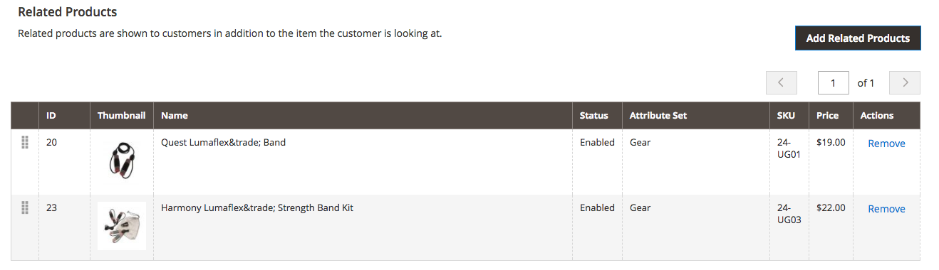 Our Newly Added Related on the Product Edit Screen