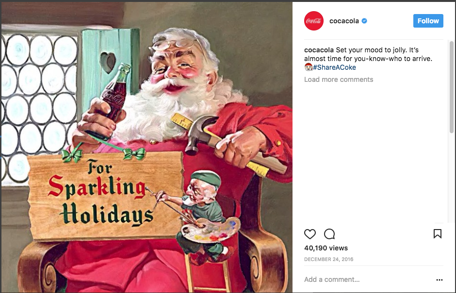 Holiday Instagram Post from CocaCola