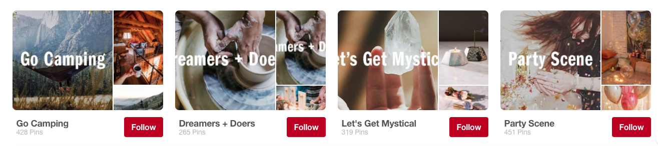 Lifestyle related Pinterest boards