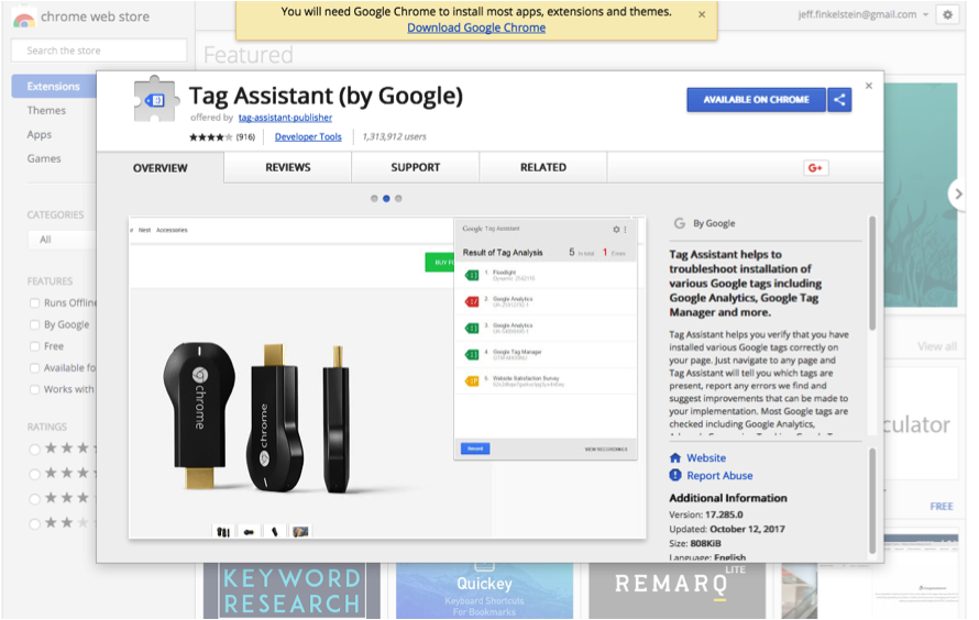 Google Tag Assistant Chrome Assistant