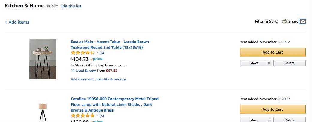 Example of a Wishlist on Amazon