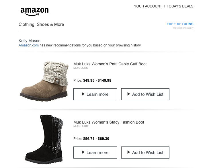 Amazon regularly uses personalization in their emails