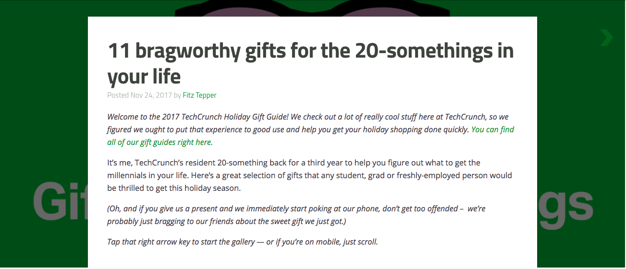 example of a gift guide in a blog post