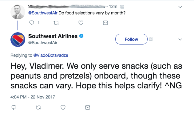 Customer support over the Southwest Twitter account