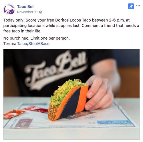 This Taco Bell Facebook Ad Uses Action Words