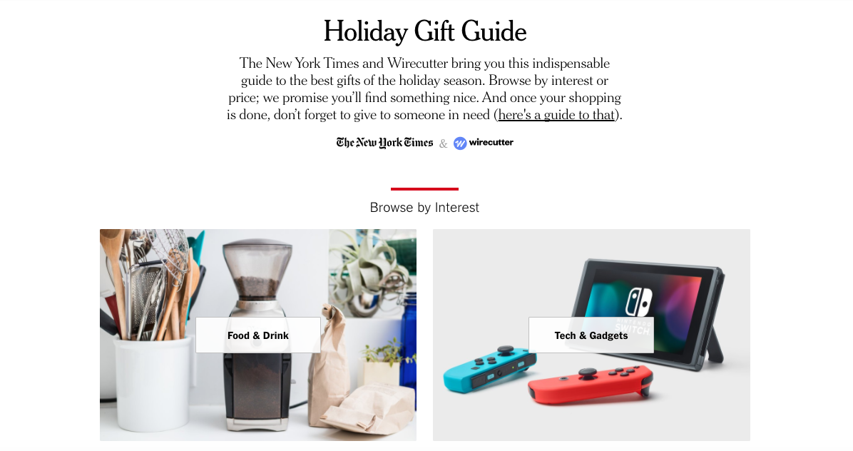 A section of the new york times dedicated to gift guides