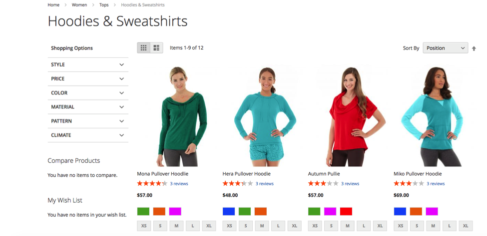 Final product on the front end category page with layered navigation