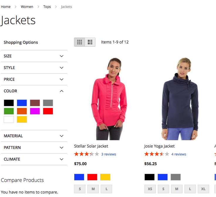 Example of what color swatches look like in Magento 2 layered navigation