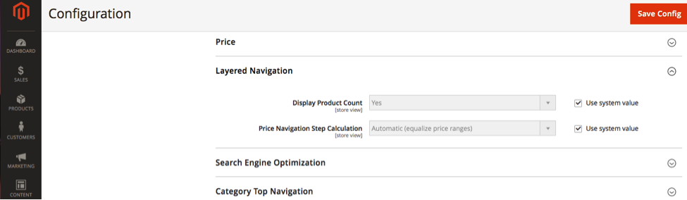 The Magento 2 layered navigation settings screen