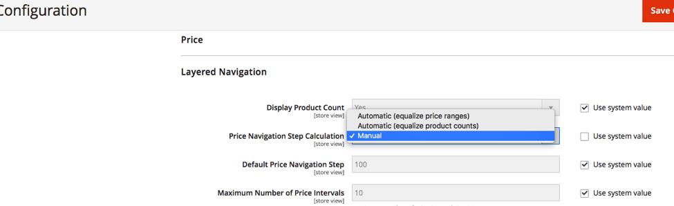 Price calculation drop down menu