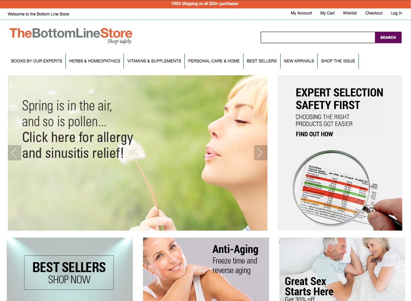 The Magento 1 version of the bottomlinestore homepage