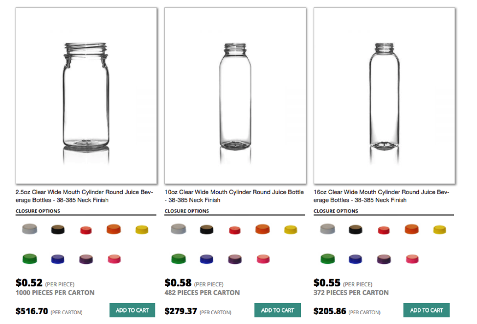 Redesign category page showing glass bottles and closure options