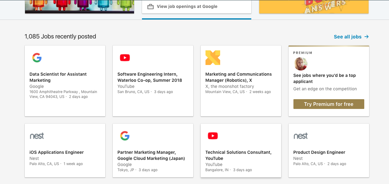 Google job postings on LinkedIn