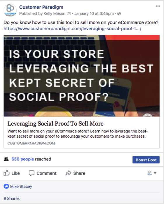 Example of a facebook post that uses an image and a link