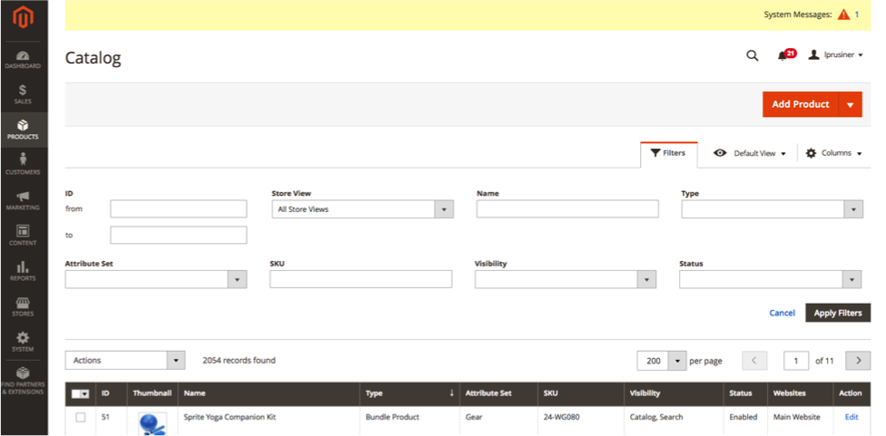 Use the filter options to easily search your Magento 2 catalog