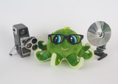 Green Octopus with vintage camera and flash