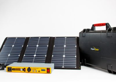 Solar power panels, battery and briefcase