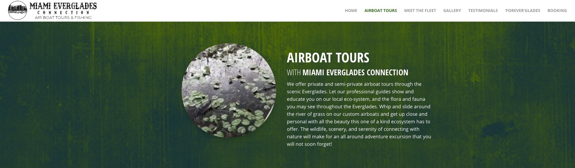 Miami Everglades Connection Website Header Screenshot