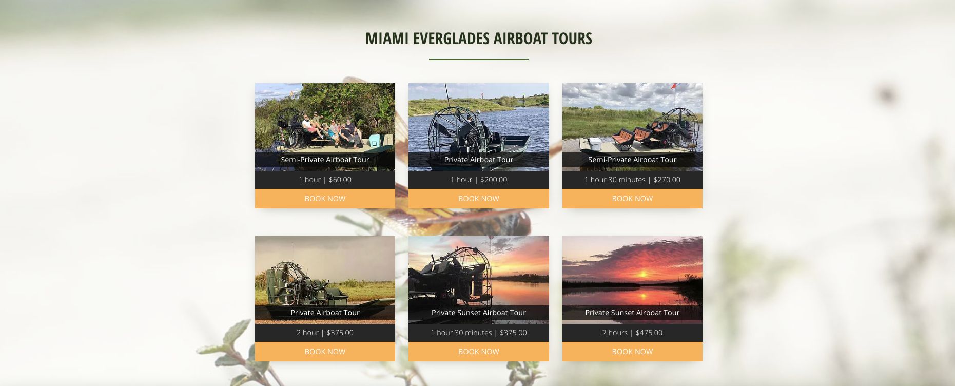 Miami Everglades Connection Airboat Tours Selections