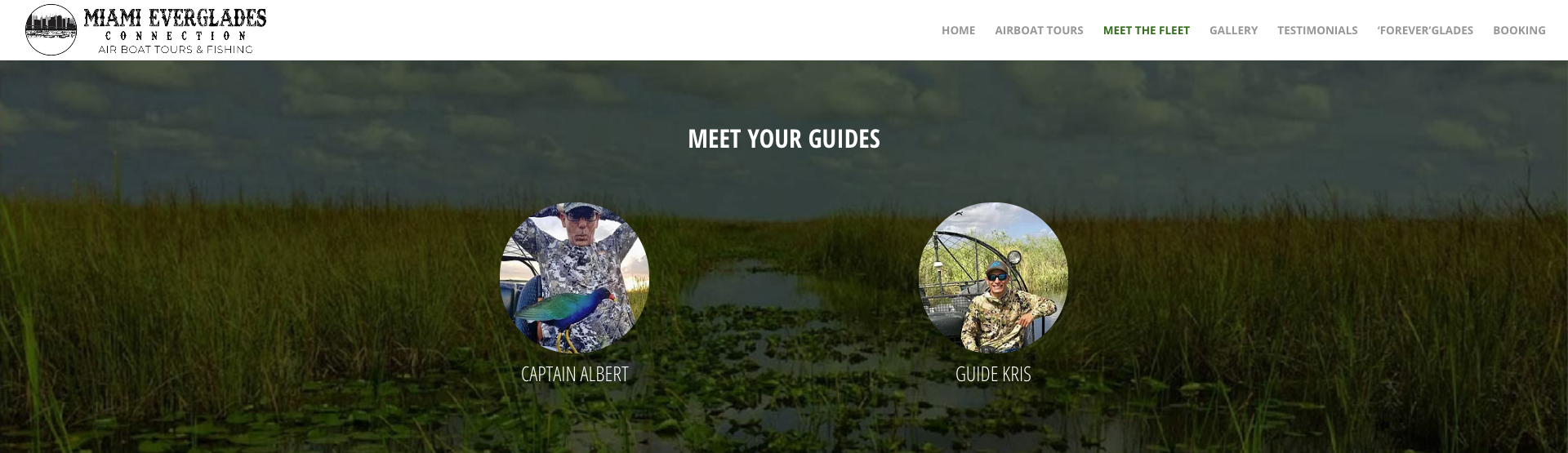 Miami Everglades Connection Website Screenshot
