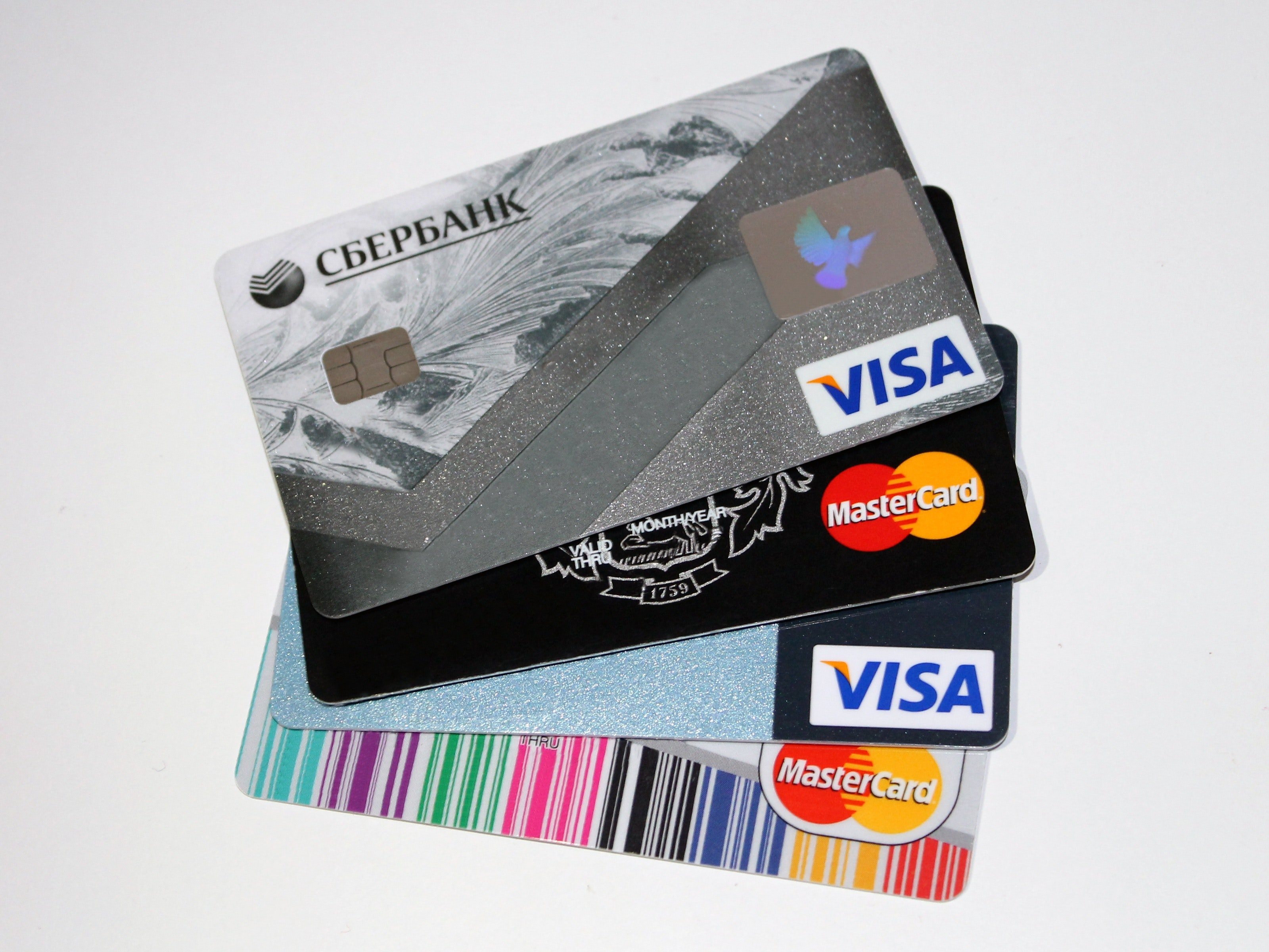 Stack of Credit Cards. ECommerce Credit Card Fraud