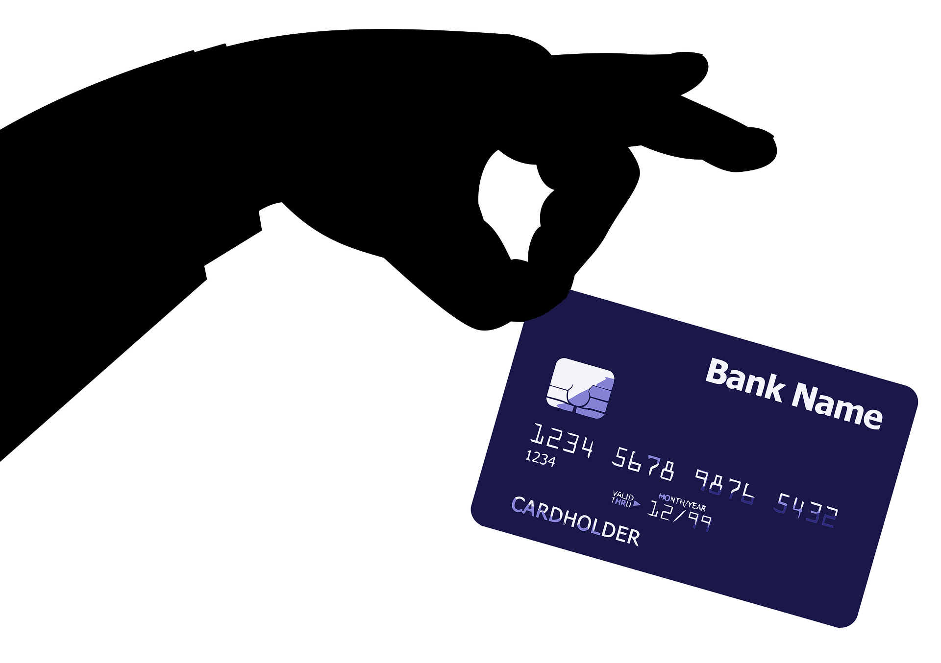 Animated hand holding a credit card. Ecommerce and credit card fraud prevention