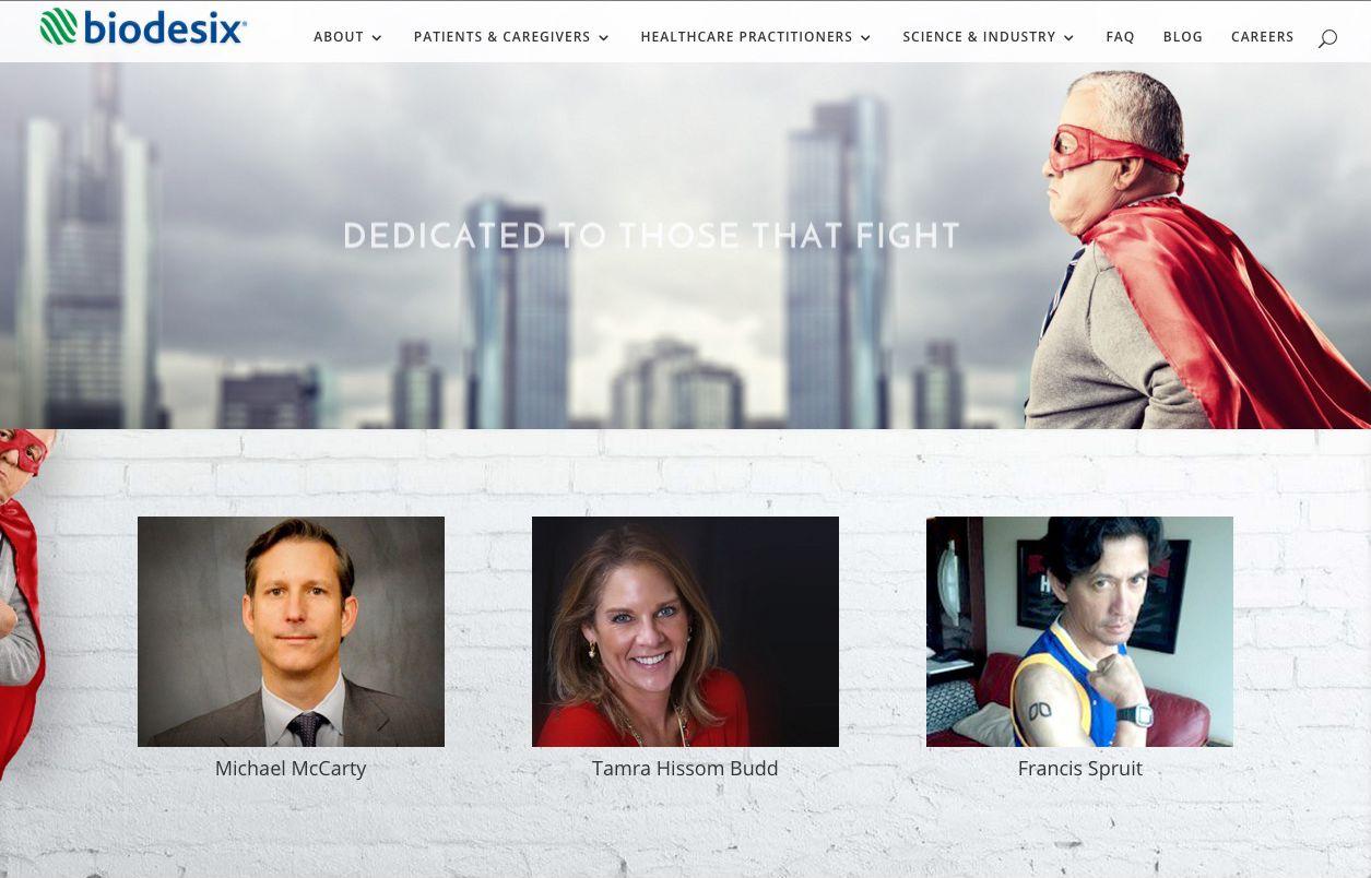 image of Biodesix WordPress Client Website