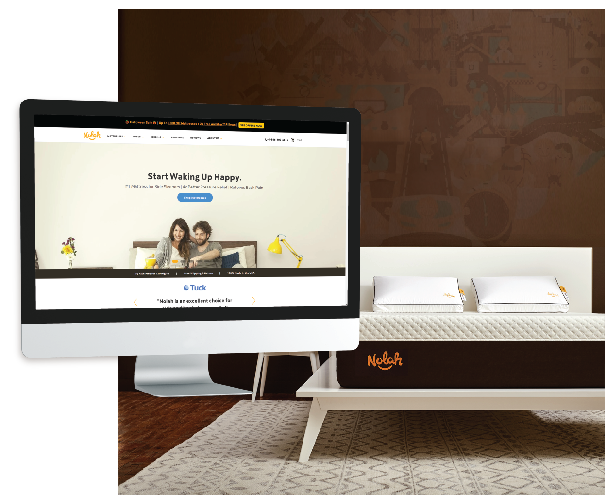 image of Nolah Mattress website on desktop over image of mattress background