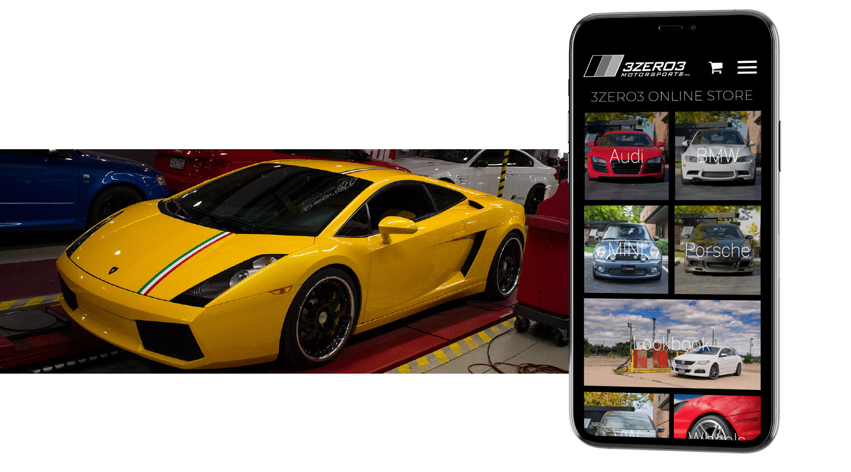 image of yellow lambo build and store mobile mockup